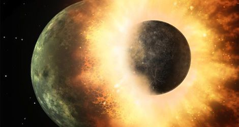 An artist's conception of the massive collision that would have produced the moon roughly 4.5 billion years ago.