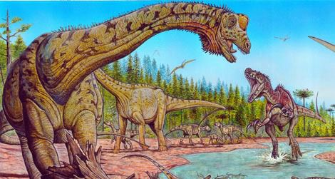 The giant sauropod Futalognkosaurus (at left) with some of its Cretaceous neighbors.