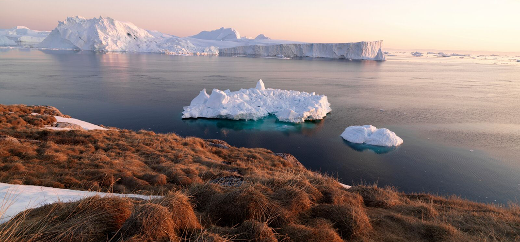 Icebergs in a fjord in Greenland