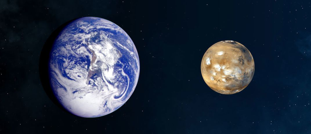 A side-by-side comparison of Earth and Mars.