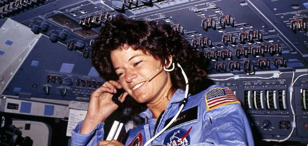 Sally Ride on board the challenger