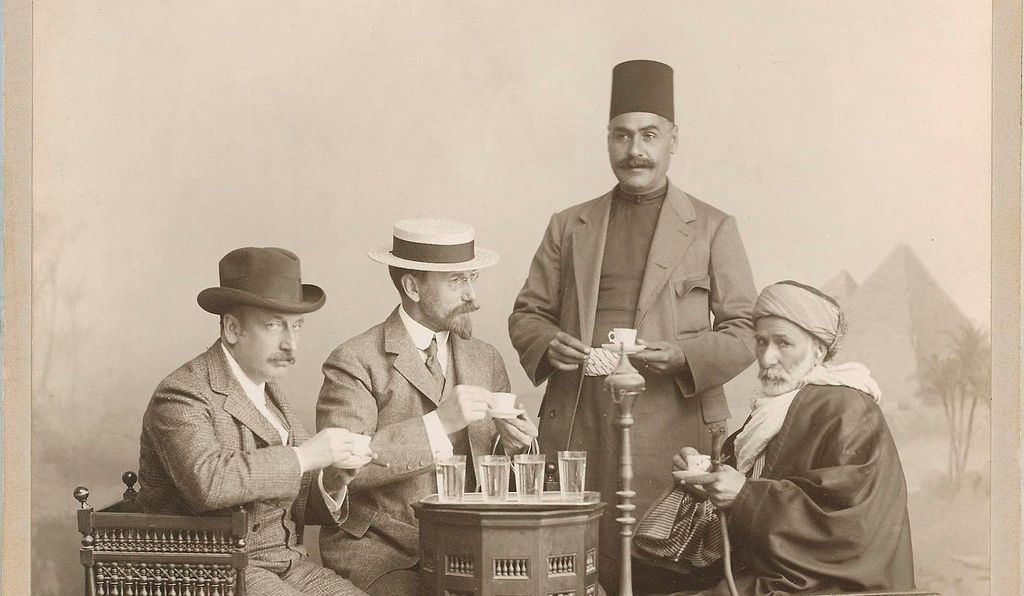 Charles Lang Freer (second from left) and colleagues at a photography studio in Cairo Egypt, 1909