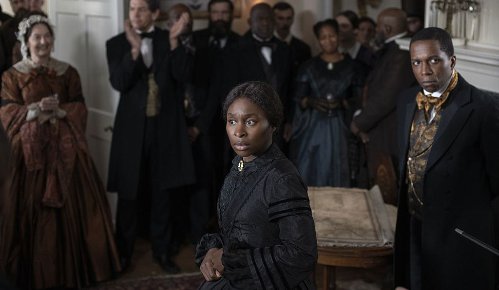 Following her escape, Tubman joined Philadelphia's abolitionist network (above, right: Leslie Odom, Jr. portrays abolitionist William Still).