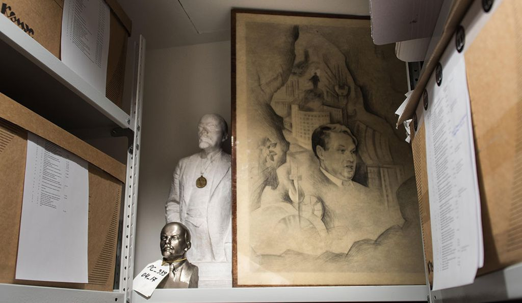 Busts of Lenin inside the archives of the Yeltsin Museum. Before joining as director, Dina Sorokina spent eight years at the Museum of Modern Art in New York.