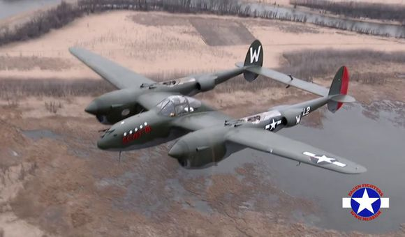 Preview thumbnail for video'P-38 Lightning in Flight