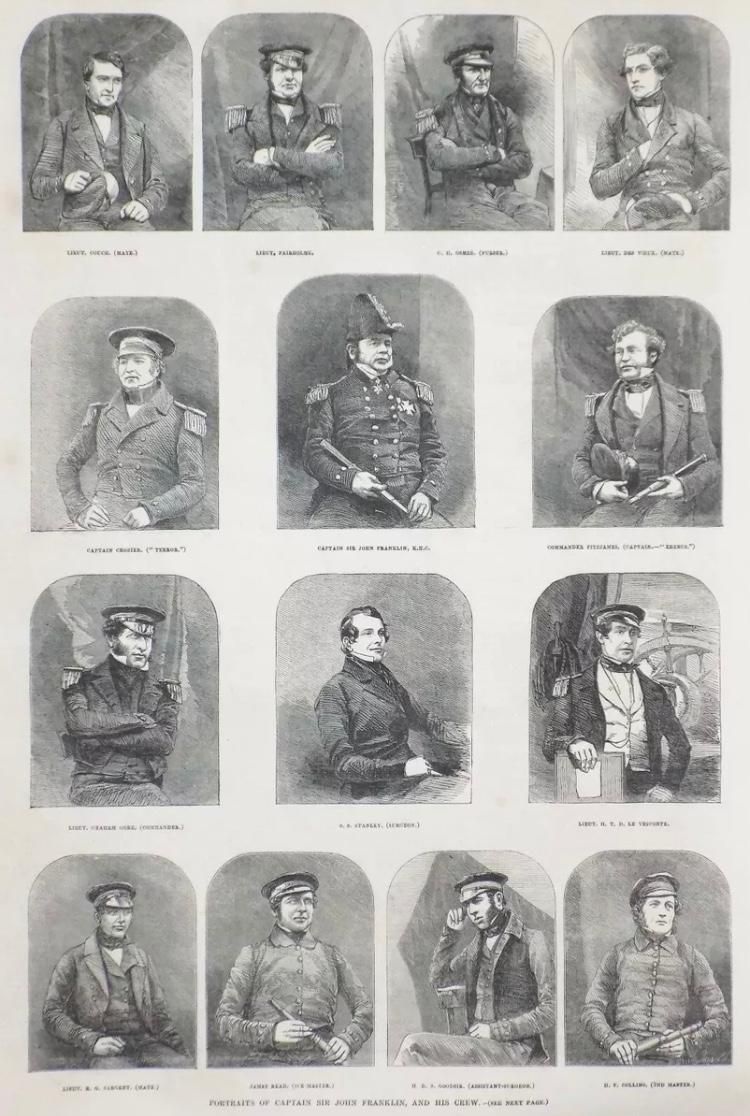 A page from the <em>London Illustrated News</em> depicts John Franklin and members of his crew