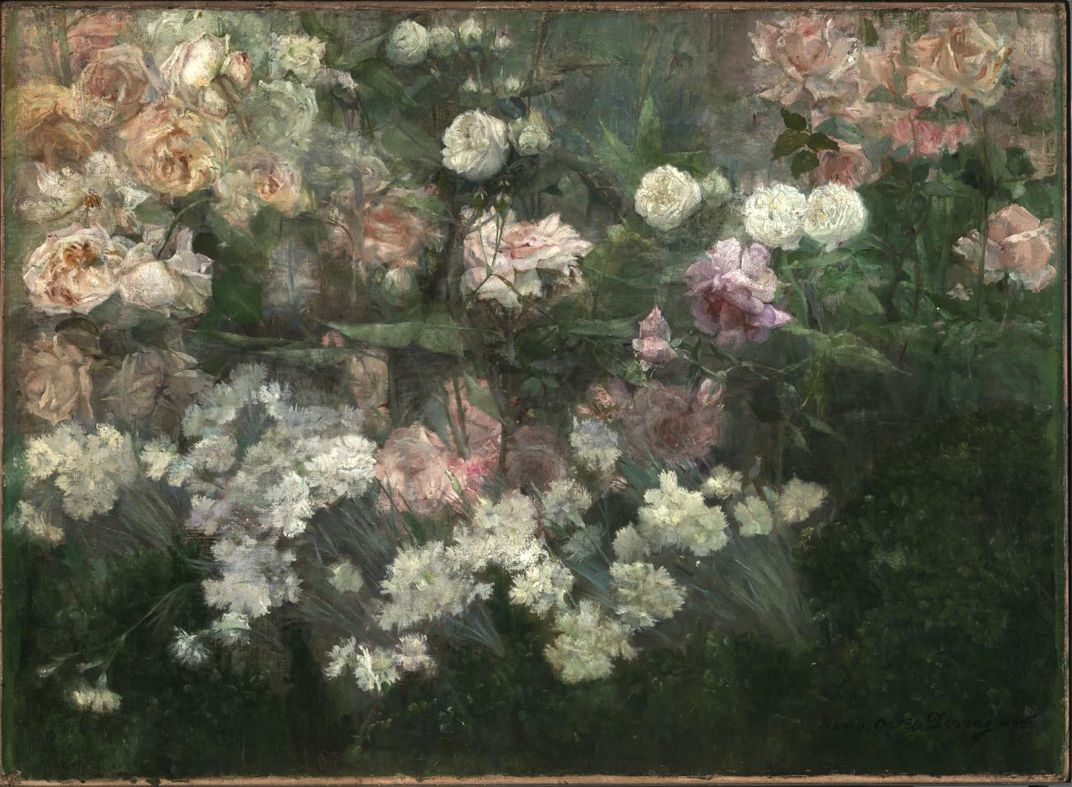 A painting of a garden with flowers.