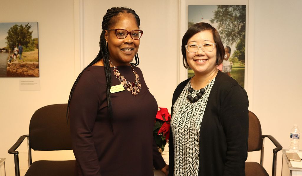 The museum's current director, Melanie Adams (above, left with Lisa Sasaki, director of the Asian Pacific American Center) says the symposium was an