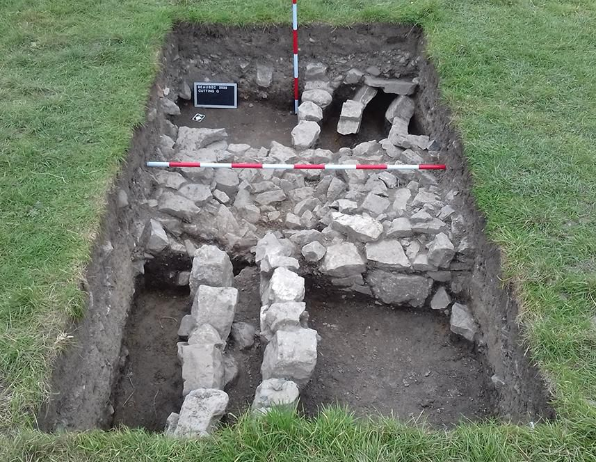 View of excavations at medieval monastery in England