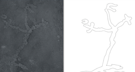 A photograph (A) and outline (B) of the human-like drawing
