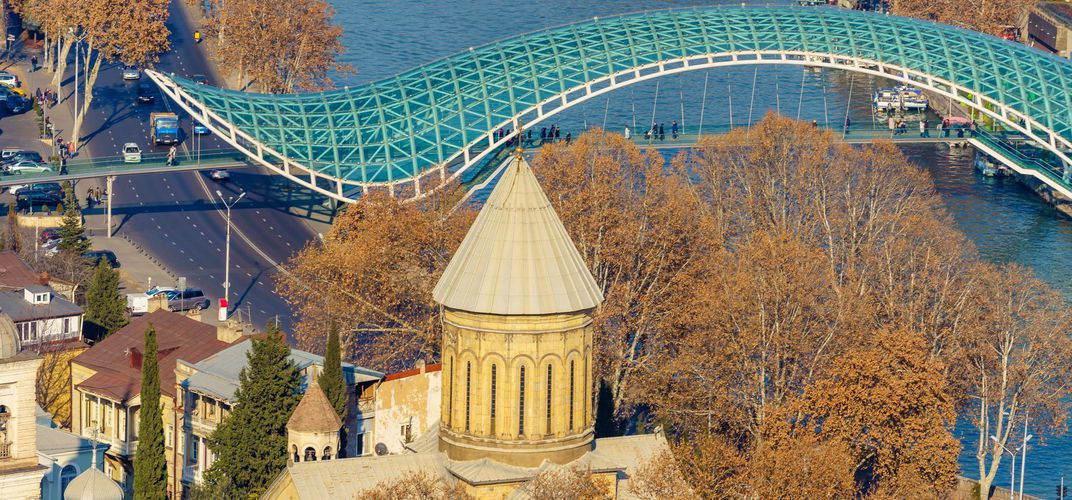 Sioni Cathedral with modern bridge, Tbilisi