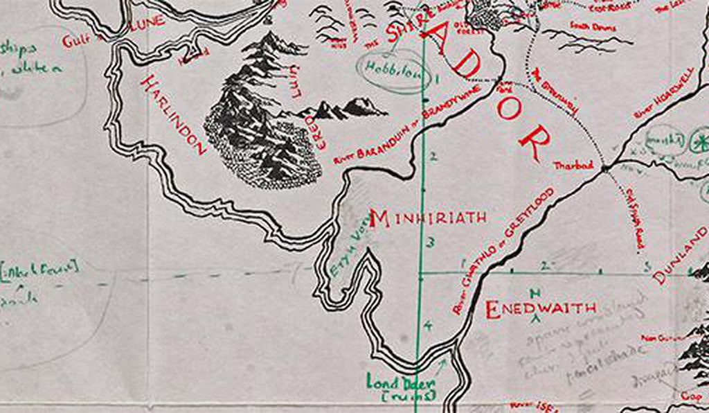 A close view of the annotated map reveals Tolkien's obsessive attention to detail.