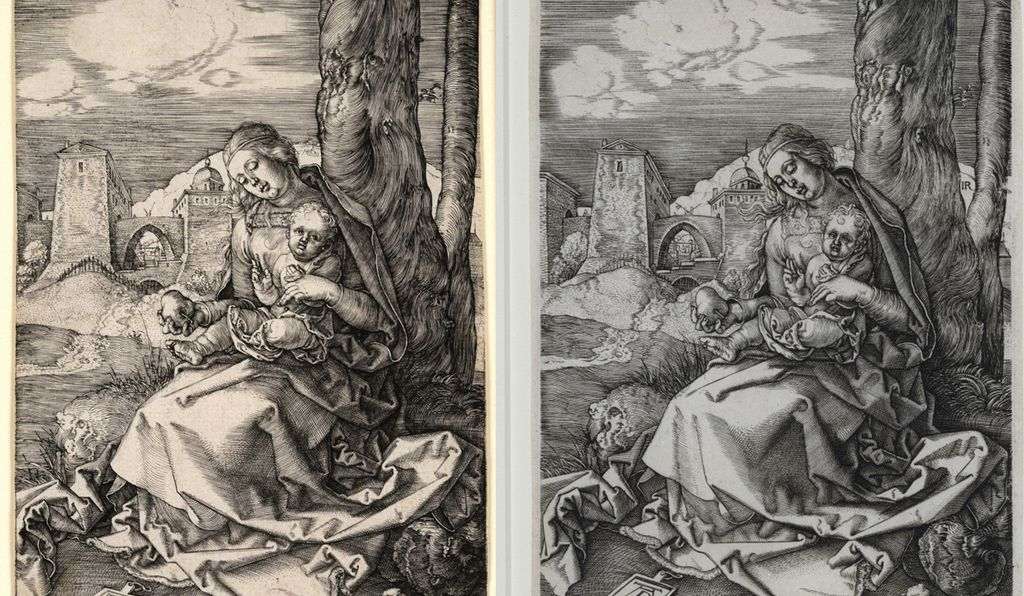 "Left: Albrecht Dürer, ""Madonna with the Pear,"" 1511 / Right: Monogrammist IR, ""The Virgin and Child with a Pear,"