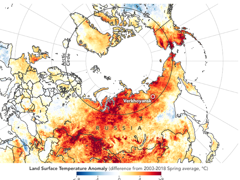 NASA Earth Observatory Map of Arctic heat wave