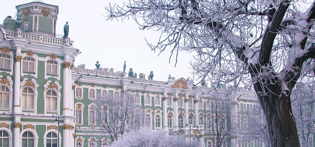The Winter Palace, now the Hermitage Museum, covered in snow, St. Petersburg. Credit: <i>Hotel Astoria</i>