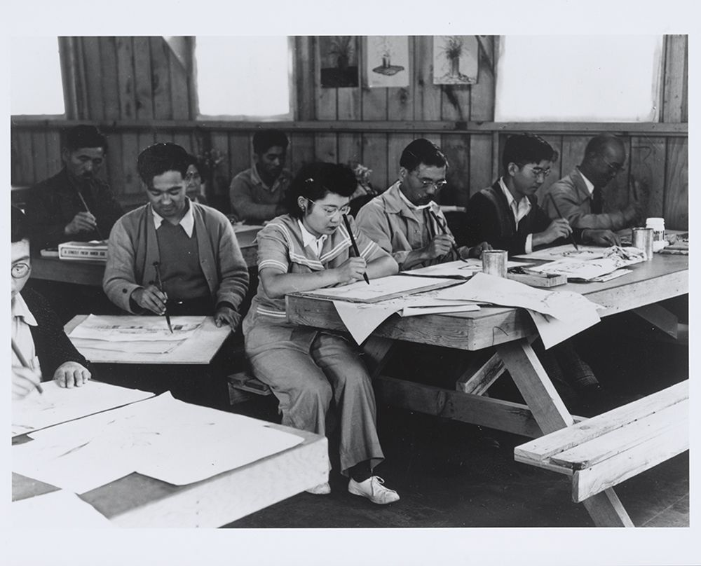 Photograph of a brush work class by Dorothea Lange