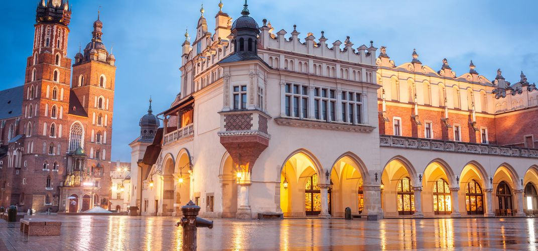 Evening in the main square of Krakow