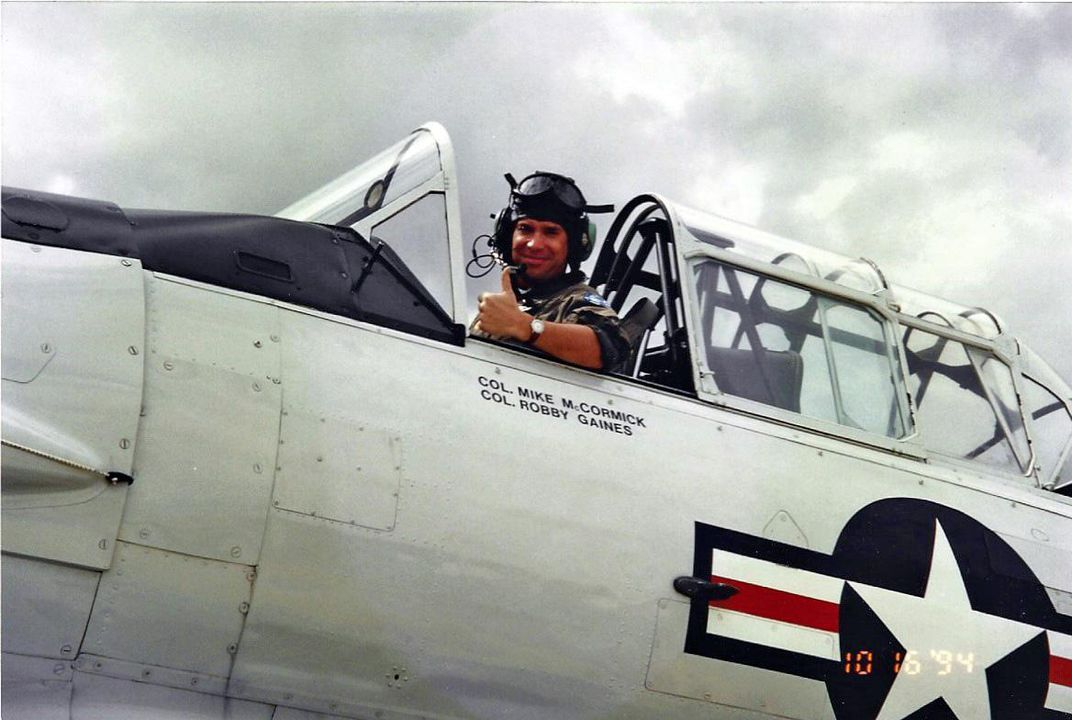 Robby Gaines in a 1942 North American SNJ