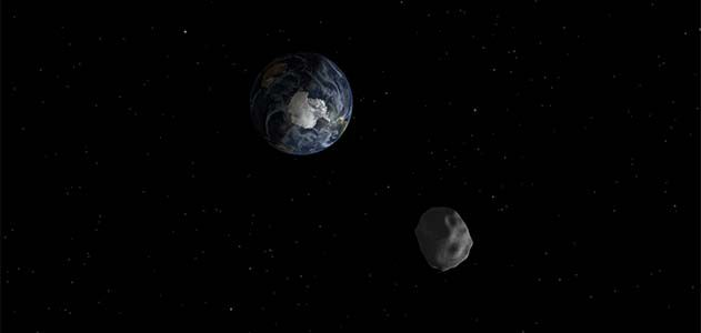A rendering of Asteroid 2012 DA14, which will pass within 17,200 miles of Earth's surface.
