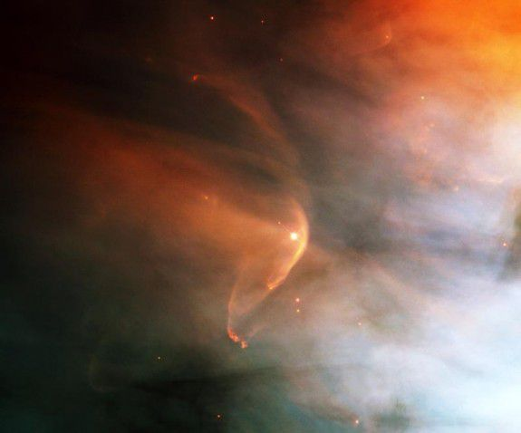 Interstellar material builds up in front of the star LL Ori.