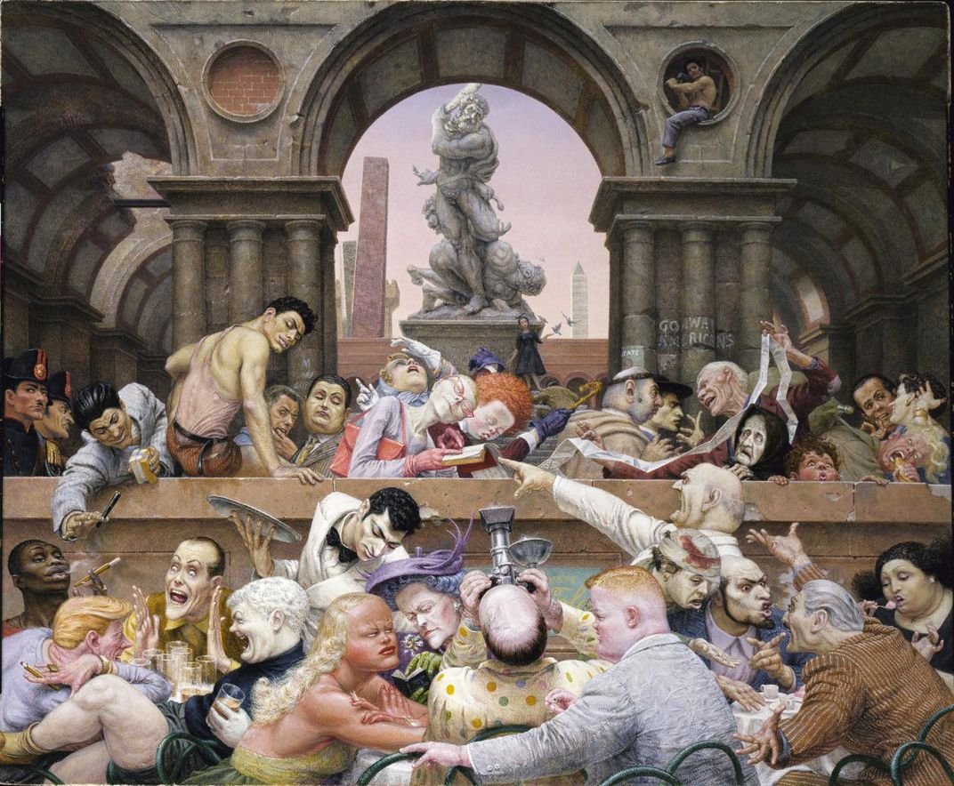 A painting of many people gathered around tables