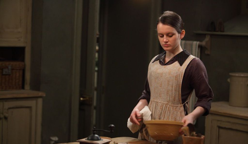 The dress and apron worn by Daisy, played by Sophie McShera, are on view at Winterthur through January 4, 2015.