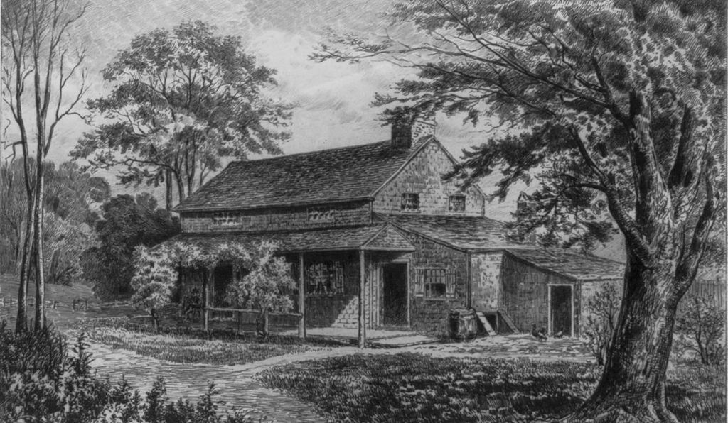 An engraving of Edgar Allan Poe's cottage in Fordham, New York (image: James Horsey Finken via Library of Congress)