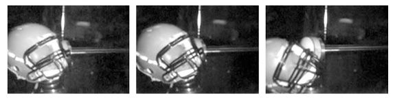 Crash testing a football helmet
