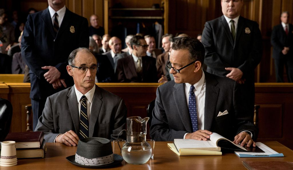 Mark Rylance and Tom Hanks as Soviet spy Rudolf Abel and his American attorney, James B. Donovan, in the film