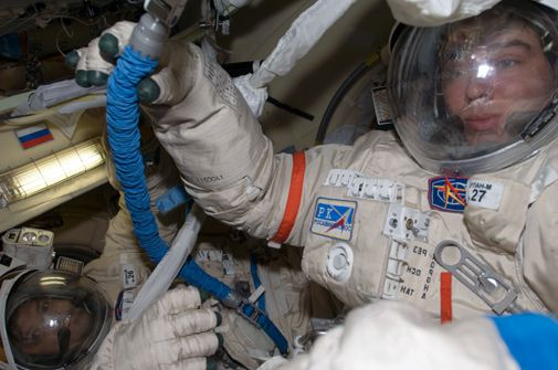 Two cosmonauts take a risky spacewalk to help ensure a safe ride home.