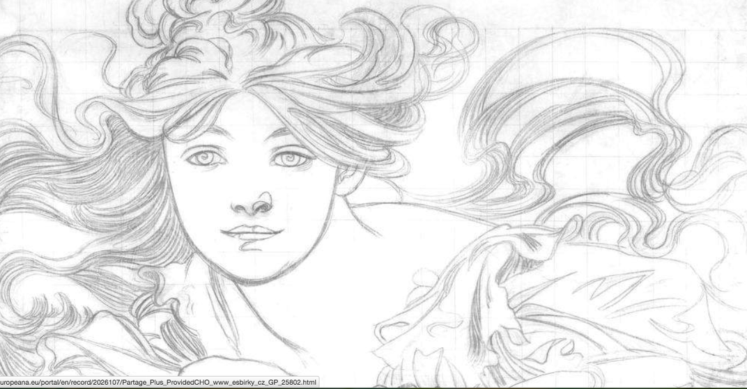 This Illustration By Alfons Mucha Is Available In A Coloring Book Created Europeana