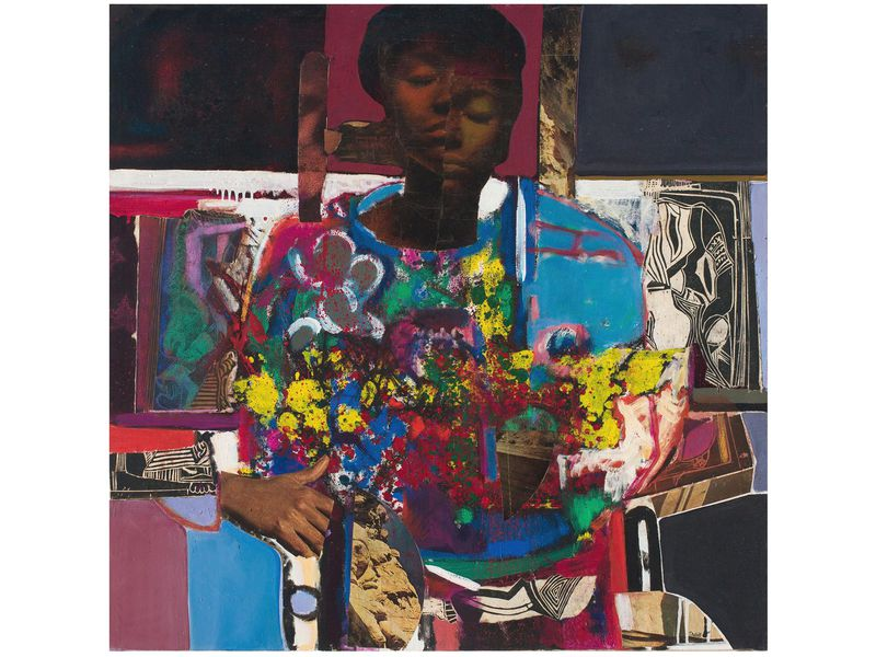 Woman With Flowers oil and collage on canvas