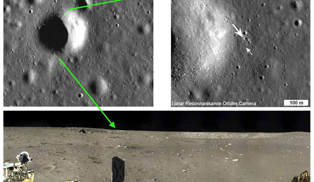 LRO orbital views of the Chang'E 3 landing site (top) near the rim of a 450 m diameter crater, which appears to have excavated into the local mare basalt lava bedrock.  The surface panorama from the Chang'E 3 lander (bottom) shows the crater rim clearly.