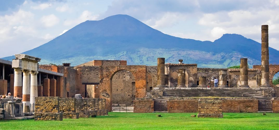 Remarkable Pompeii, with Mount Vesuvius in the background