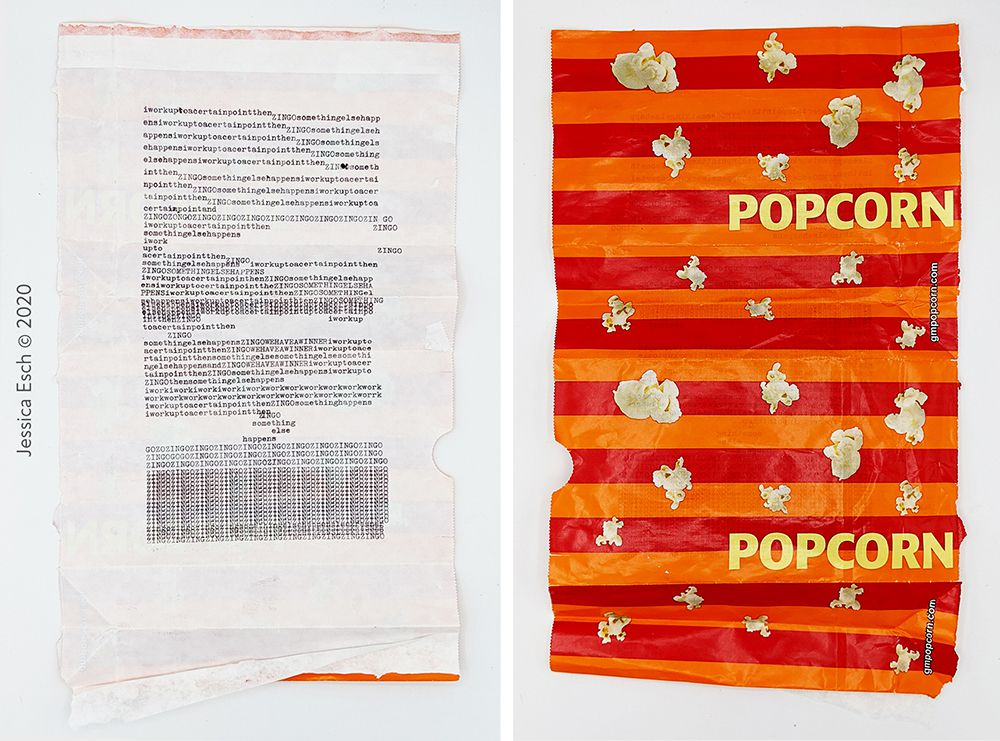 Front of artwork made from typewritten text next to image of the back of the artwork with a orange and pink background with pictures of popcorn and yellow text reading popcorn