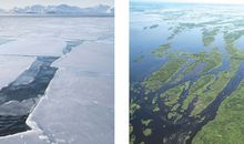 Paired Images of Melting Glaciers and Flooding Wetlands Tell the Story of Global Climate Change