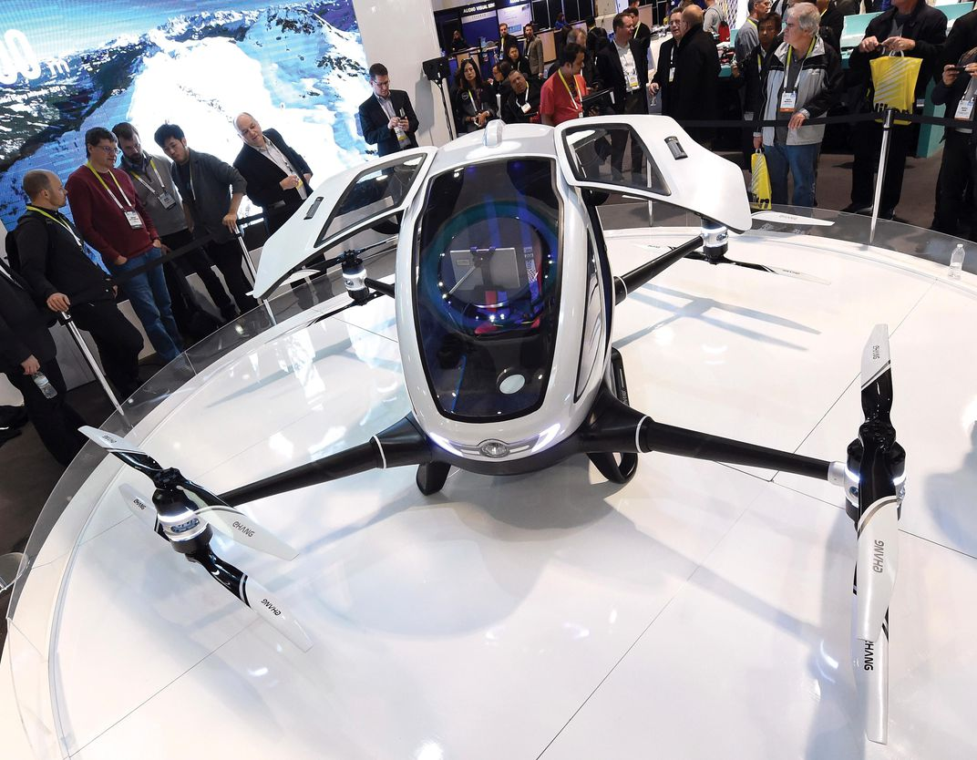 The Future Of Cars Is Already Here Innovation Smithsonian Engine Wiring Diagram Scale Auto Magazine For Building Plastic Ehang 184 Weighs Just 440 Pounds Despite Its Eight Helicopter Rotors Partly Designed Redundancy Ethan Miller Getty Images