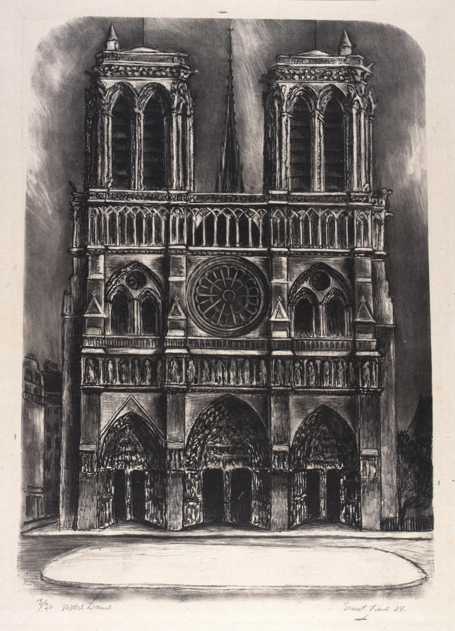 A lithograph of the front facade of Notre Dame.