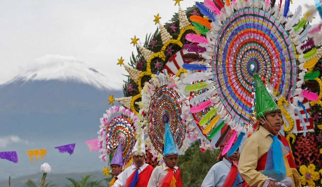 Dancers take part in the Huey Atlixcayotl festival, where people gather to celebrate around San Miguel in Atlixco, in the state of Puebla. Every year the Huey Atlixcayotl festival, which is of Nahuatl origin, congregates the representation of the delegations of the eleven cultural regions of the state of Puebla.