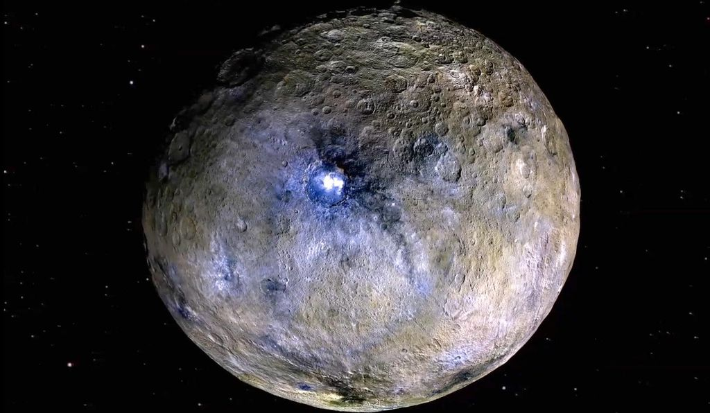 This false color rendering of Ceres highlights the locations of different materials on its surface.