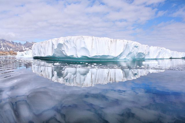 An iceberg floats off the coast of Greenland.