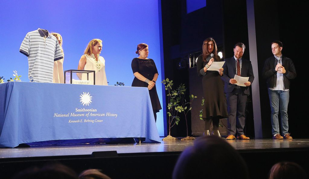The on-stage donation ceremony