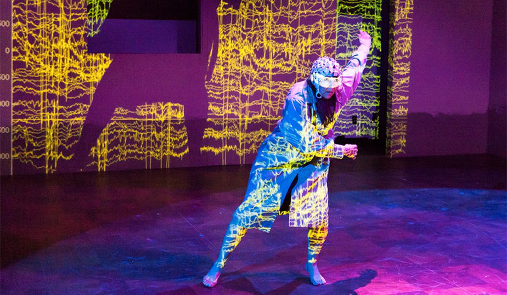 Dancer Becky Valls performs wearing Contreras-Vidal's electrode cap (University of Houston)