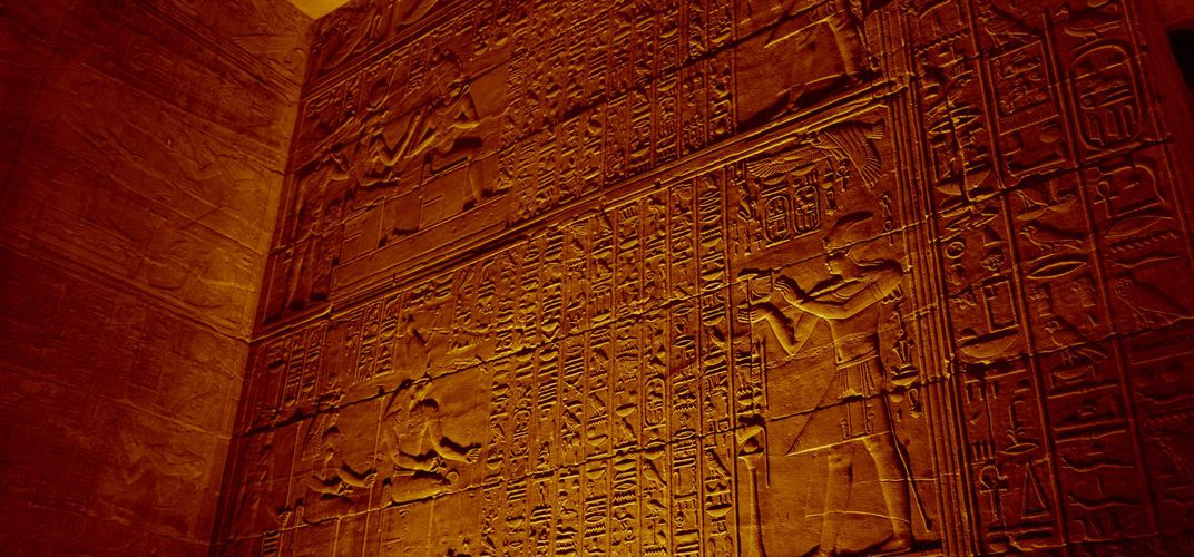 Hieroglyphics at the Temple of Horus, Edfu
