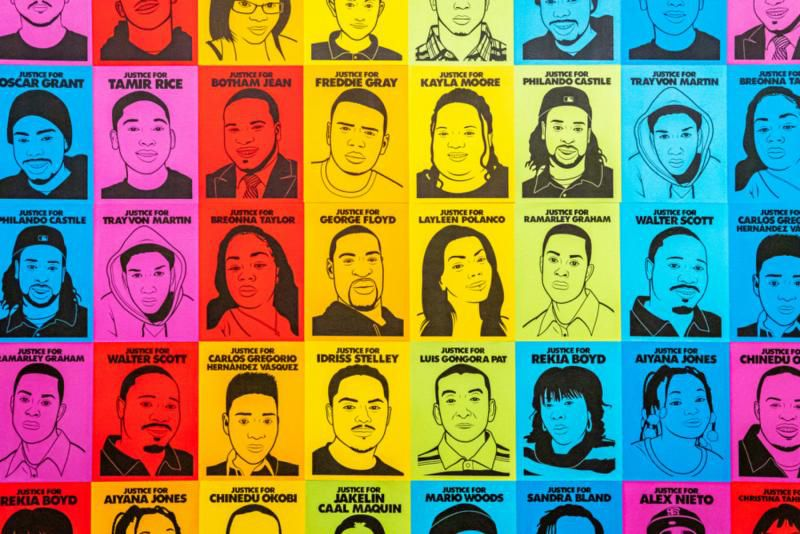 A grid of portraits on colorful backgrounds.