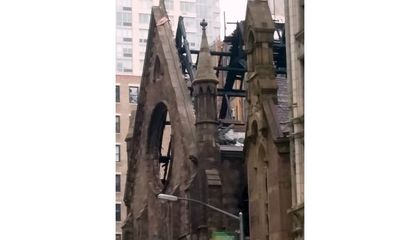 A Historic Cathedral in New York City Goes up in Flames