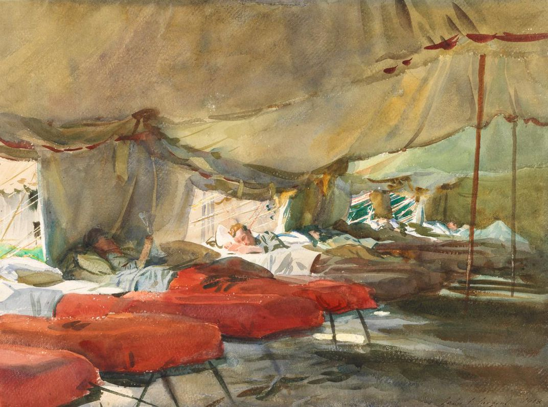 painting of men in red hospital beds