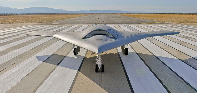 Northrop Grummans portrait of the future for naval aviation the X47B on the runway in Palmdale California