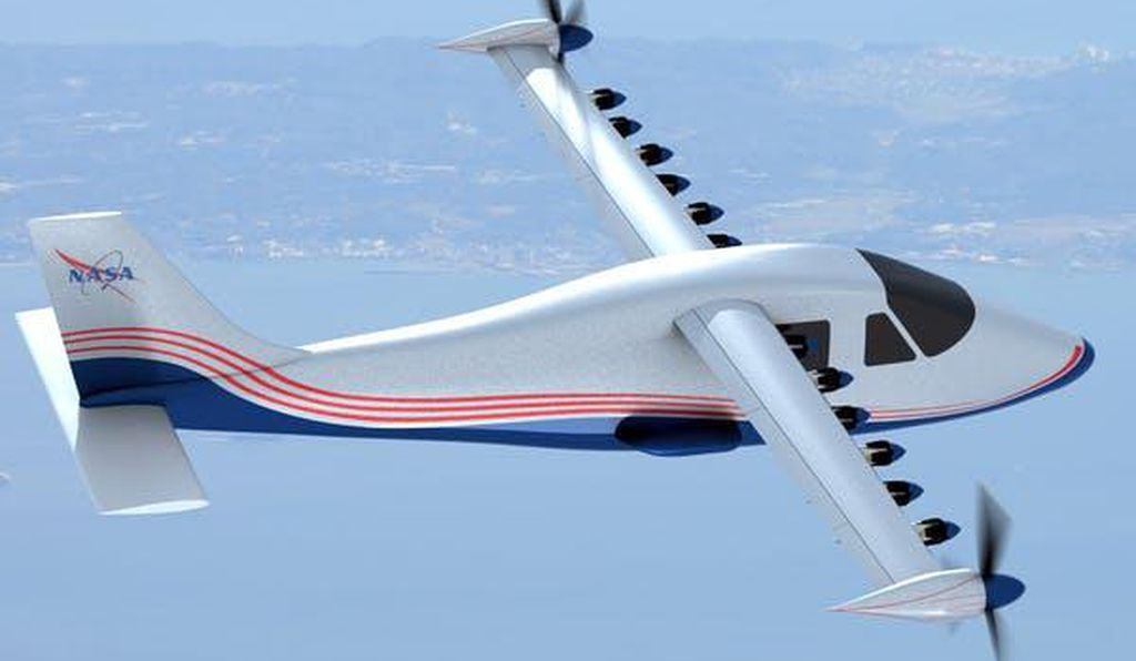 This artist's concept of NASA's experimental electric plane design shows 14 motors along the wings.