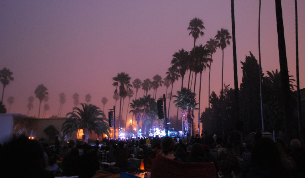 Bon Iver performs at the Hollywood Forever cemetery.